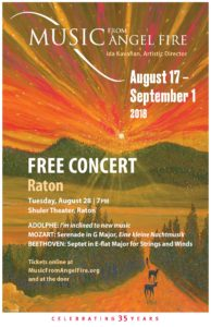 Music From Angel Fire - August 28 @ 7 pm